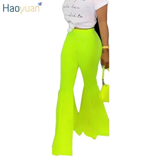 HAOYUAN Neon Green Flare Leg Pants Women 2019 Fashion Sexy Streetwear Bell Bottom Pants Summer High Waist Wide Leg Trousers