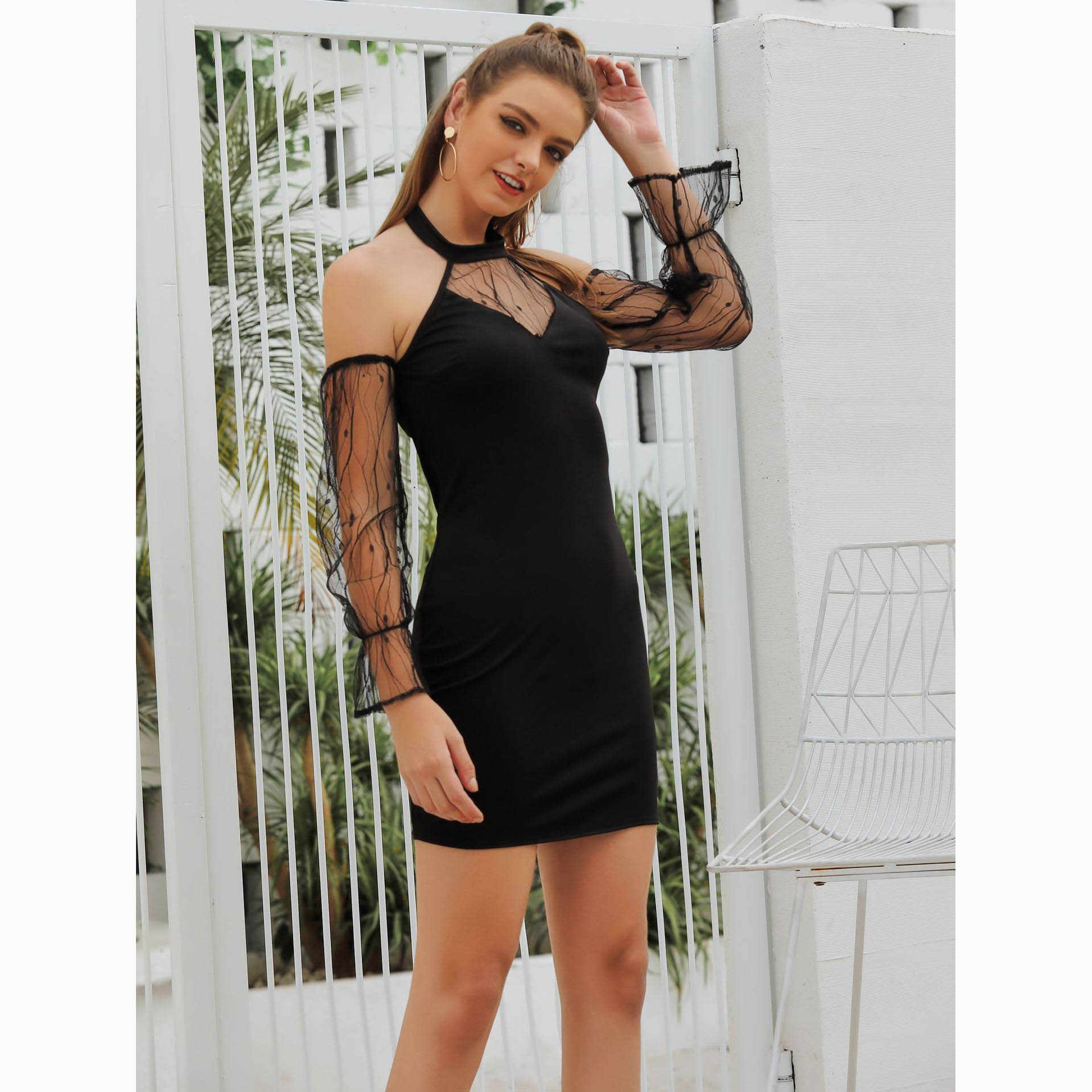 S-XL בתוספת גודל הלטר כבוי כתף תחרה טלאים Bodycon שמלה אלגנטי שמלות אישה מסיבת לילה Vestidos סקסי שחור Minifalda