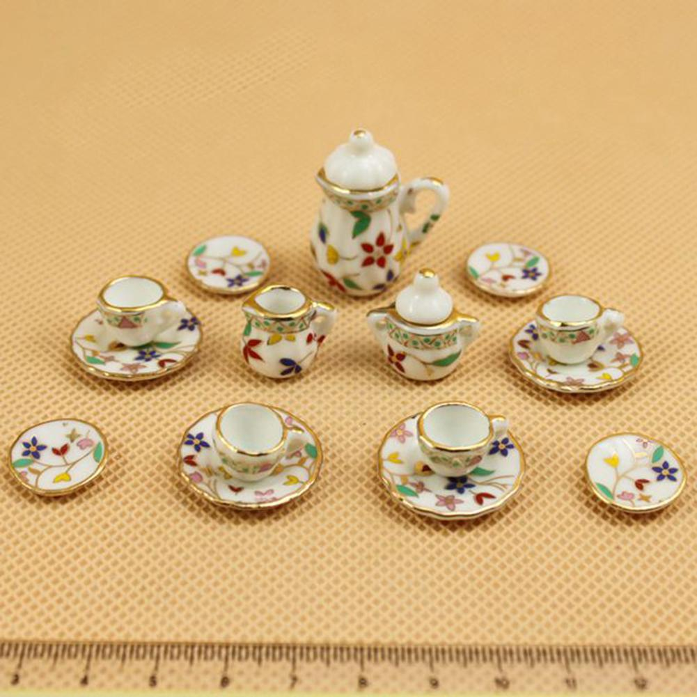 15 Dollhouse Miniature Dining Ware Ginger Ceramic Tea Set Pot Cup Plate