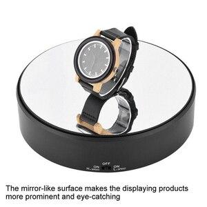 Image 2 - Rotierenden Langlebig Plattenspieler Professionelle Unterstützung Display Stand Art Spiegel Glas Spielzeug Modell Uhr 360 Schwenk Schmuck Halter Handwerk