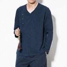 2019 Men Linen Shirts Mens Chinese Style Pullover Shirts Male Traditional Kung Fu Tang Social Shirt Soft Summer Brand Clothing