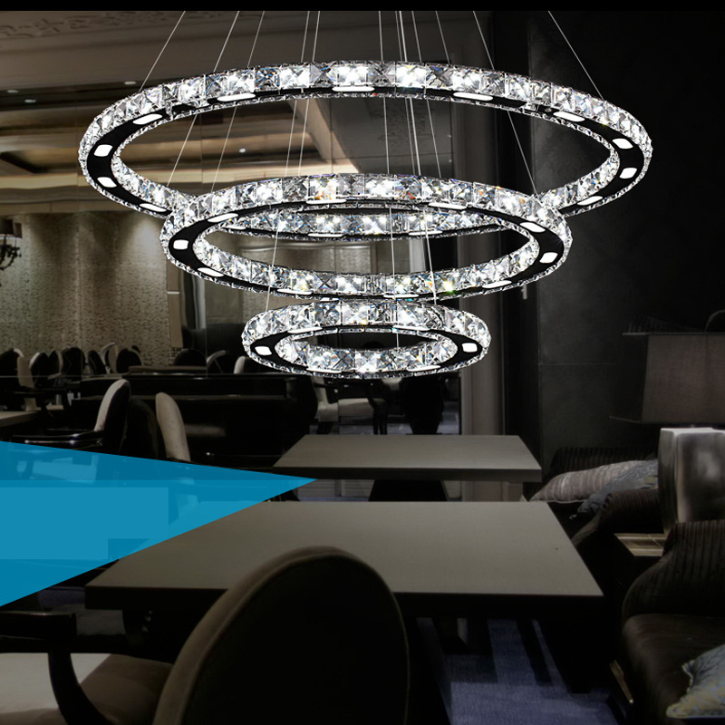 Led Modern Crystal Pendant Lights Retro Luxury Dining Room