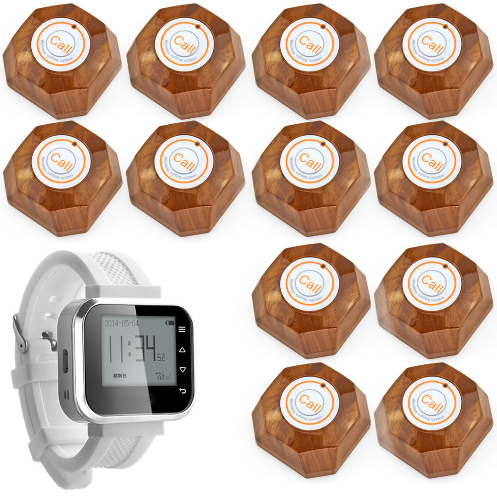Bank Restaurant Wireless Waiter Service Calling System,1 Watch,12 Button, White Wrist Pagers Wireless Waiter Calling