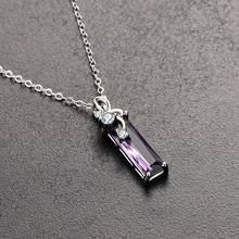 S925 sterling silver rectangular delicate Rhineston necklace Korean short collar bone pendant lady high-quality jewelry hot sale