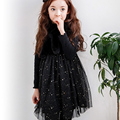 paillette autumn spring kids dresses for girls long sleeve mesh patchwork knee length children princess dress girls clothes 2017