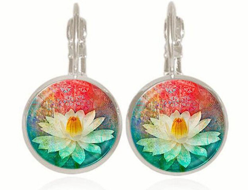 Mandala Fashion Jewelry Earrings Om Symbol Zen Buddhism