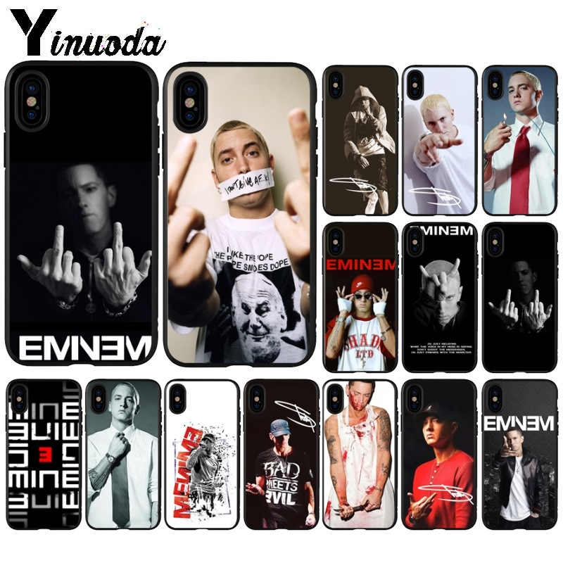Yinuoda исполнитель хип-хоп, рэппер Эминем рэп TPU черный чехол для телефона в виде ракушки для iPhone 6S, 6 plus, 7, 7 plus, 8, 8 Plus, X Xs Макс 5 5S XR