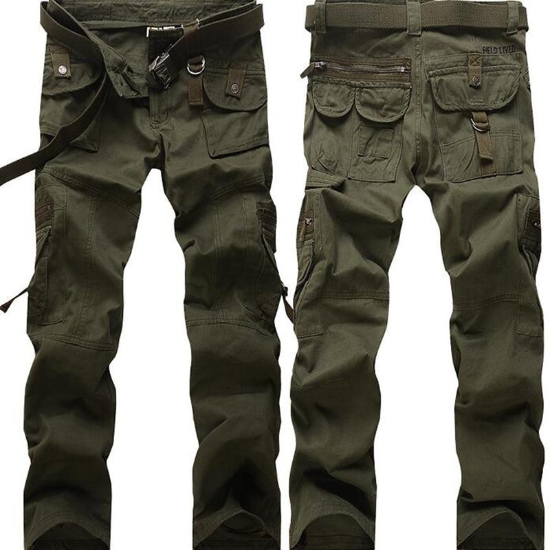 Mens Militaire Cargo Pantalon Multi poches Baggy Hommes Pantalon Occasionnels Pantalon Salopette Armée Pantalon Deux Couleurs