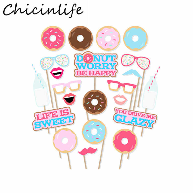graphic about Photo Props Printable called Chicinlife 22Desktops/whole lot Printable Doughnut Picture Booth Props Donut Shoppe Birthday Get together Youngster Shower Favors Decorations Materials