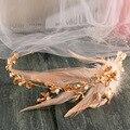 Tocado de novia de la boda de oro retro corona Asiática perla corona de plumas accesorios para el cabello de novia de la boda