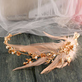 golden bride wedding headdress retro Asian crown pearl feather wreath bride wedding hair accessories