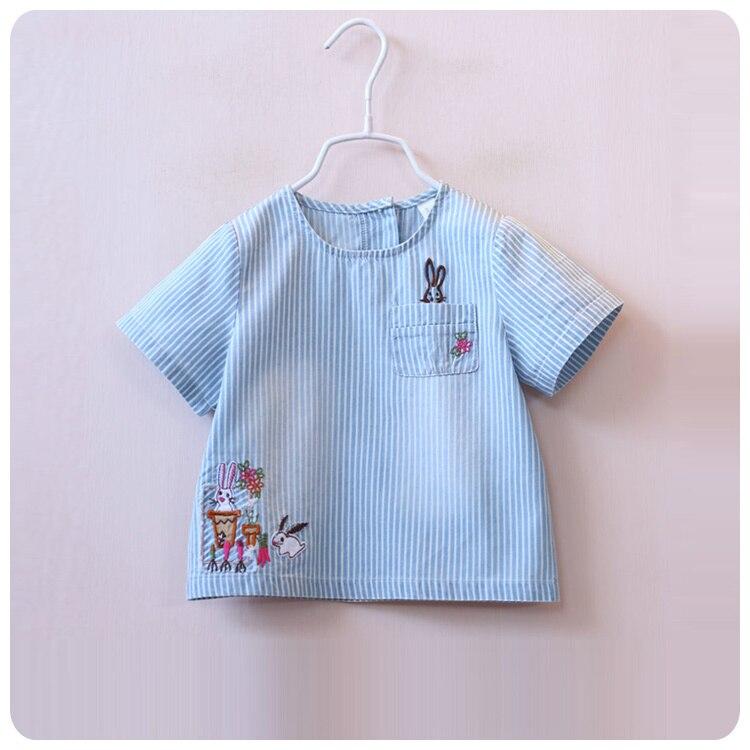 2016 Girl Baby Summer New Pattern Stripe T-Shirt Children Rabbit Embroidery Fresh Jacket Shirt Korean Children's Garment stripe pattern shirt in fresh design