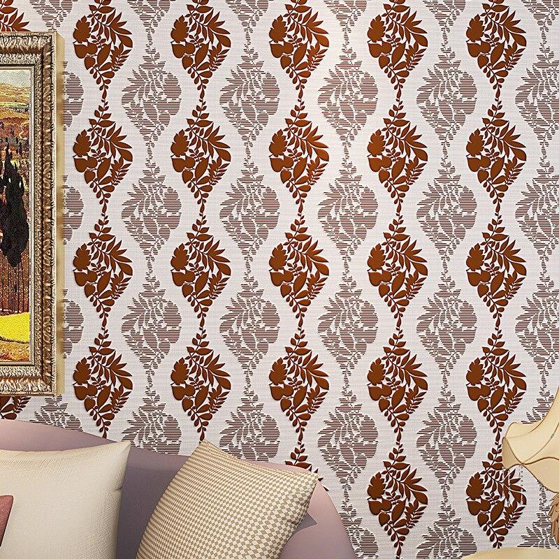 ФОТО beibehang Striped velvet flocking rattan leaves Modern 3D Wall paper roll WallPaper For Living Room Bedroom TV Sofa Backgroumd