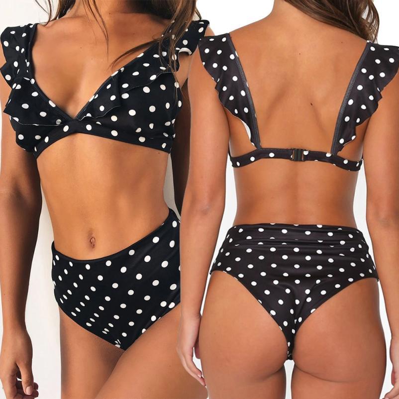 Fantástico para mujer onda pieza baño hoja de loto bikini bañadores beachwear traje de baño verano playa bañista beachwear