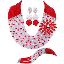 Модные красные и прозрачные ожерелья с кристаллами AB, Комплект бижутерии, нигерийские Свадебные африканские бусы, комплект ювелирных изделий JL001