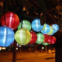 Lantern Solar String Lights Outdoor Globe Lights 20LED Warm White Multi Color Fabric Ball Christmas Lights