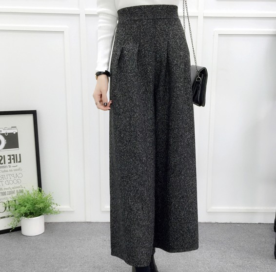 ZHISILAO Loose Trousers Women Winter Warm Wool Wide Leg Pants Maxi Plaid High Waist Trousers Elastic Thick Black Pants Casual 3