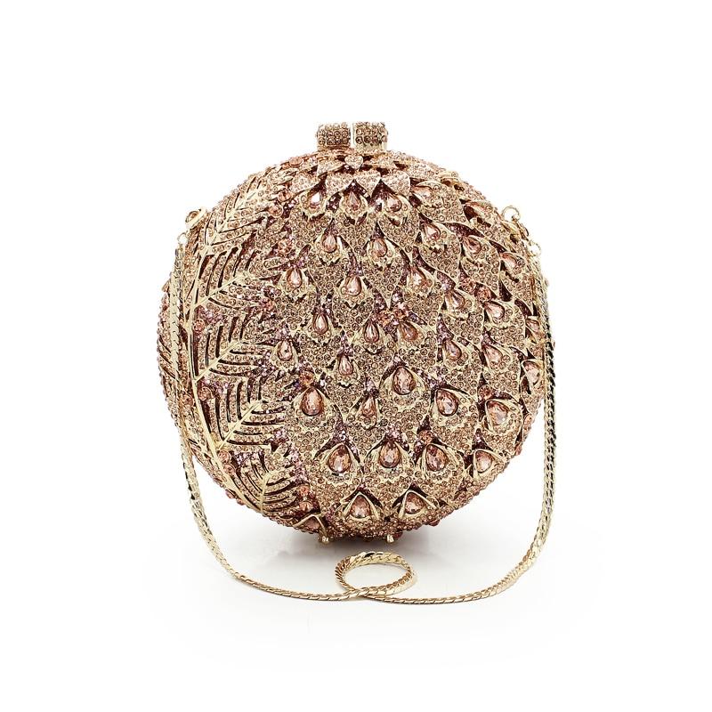Women Champagne Luxury Crystal Fashion Clutch Circle Ball Shape Wedding Shoulder Lady Evening Bag (8755A CG)