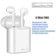 True Wirelss Earbuds i7 Mini TWS Noise Cancelling Wireless Headphones Bluetooth Earphone Sport Handsfree Headset With MIC qcy mini bluetooth 4 1 headset wireless sport bluetooth earphone with mic noise cancelling original english voice earbuds