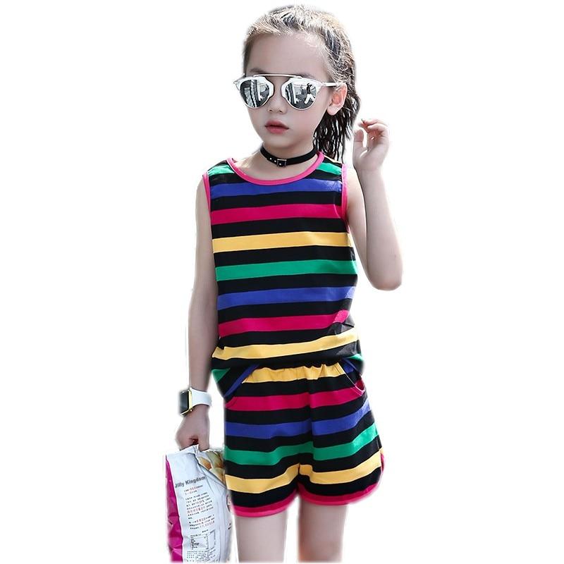 Cotton Girls Clothing Set 2018 Summer Baby Girls Clothes Vest Stripe Seeveless Rainbow Cotton Children Clothes Fashion