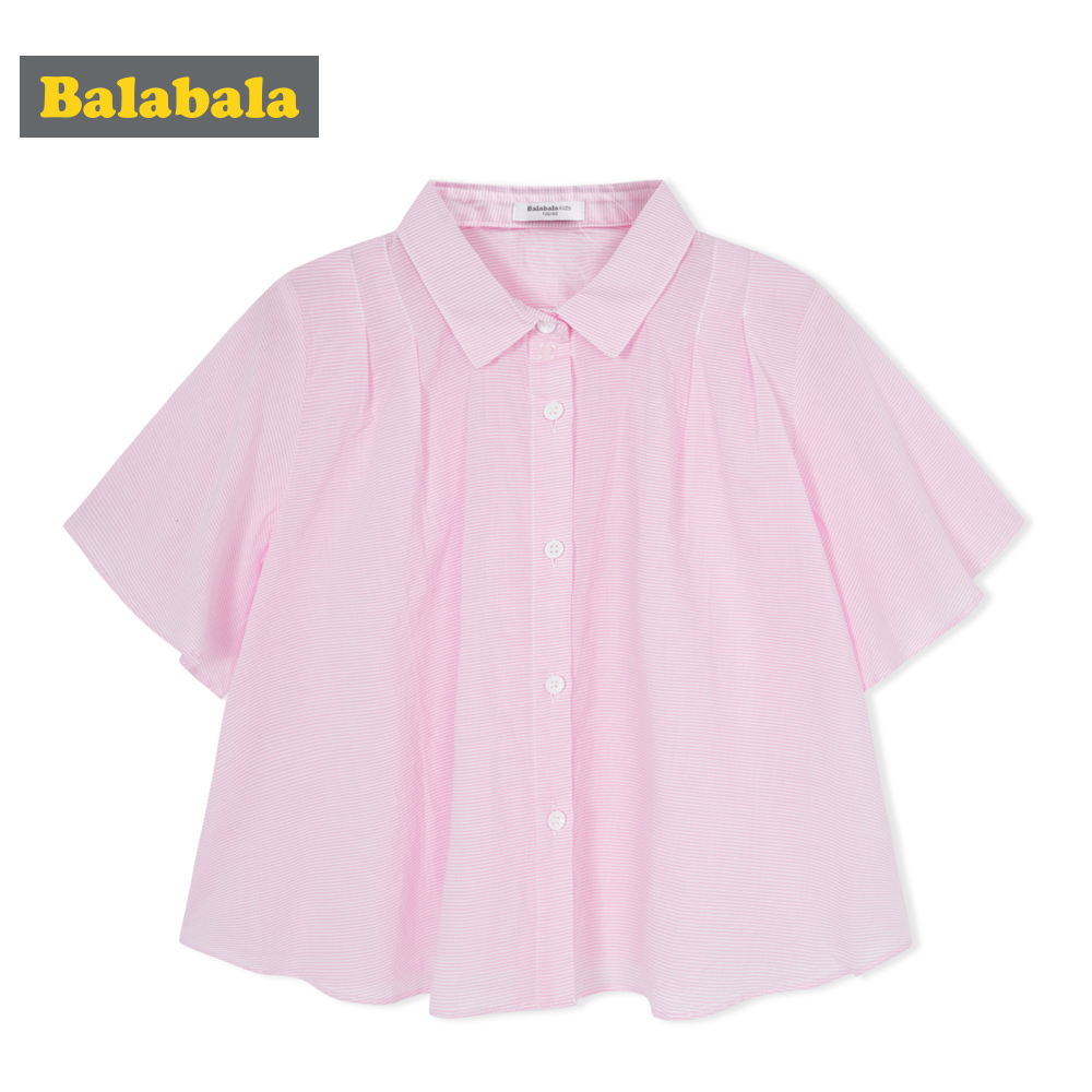 Balabala 2018 summer shirt for girls Children clothing cotton fashion half Sleeve shirts blouse girls  turn-down collar tops