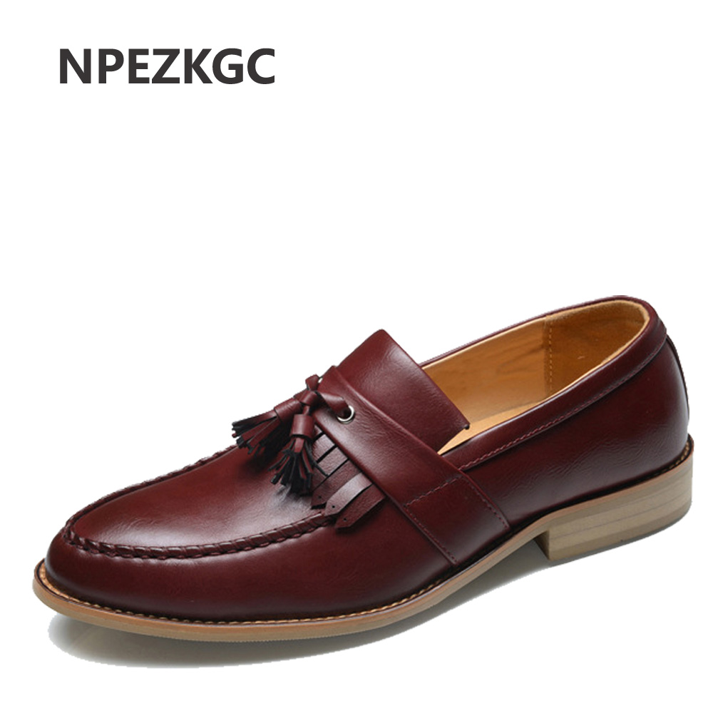 NPEZKGC Oxford Shoes for Men Leather 2017 slip on Front Men Dress Shoes Fashion Pointed Toe Men Shoes Leather Male shoes npezkgc brand high quality men oxford men leather dress shoes fashion business men shoes men dress pointed shoes wedding shoes