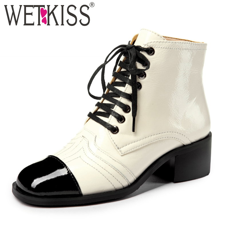 WETKIS Thick Heels Ankle Boots Women Cross Tied Footwear Casual Motorcycle Boots Female Cow Leather Shoes Woman Spring 2019 NewWETKIS Thick Heels Ankle Boots Women Cross Tied Footwear Casual Motorcycle Boots Female Cow Leather Shoes Woman Spring 2019 New