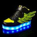 2017 moda levou luminosa para crianças crianças casual shoes usb brilhante boys & girls sapatilha com 7 cores de luz de carregamento até nova