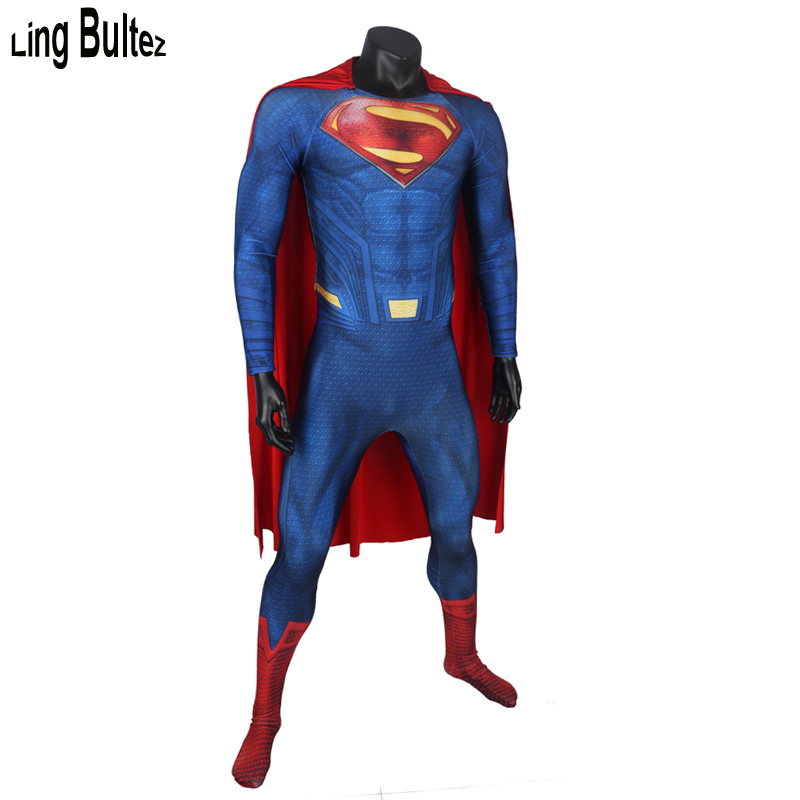 Ling Bultez High Quality New Arrival Foam Padding Logo Superman Costume Muscle Shade Superman Suit With Cape Man of Steel Cos