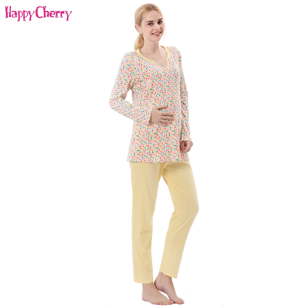 Happy Cherry Maternity Nursing Full Sleeve Pajamas Grid Pattern Loose Clothes Cotton Pants Set For Pregnancy Woman Sleepwear