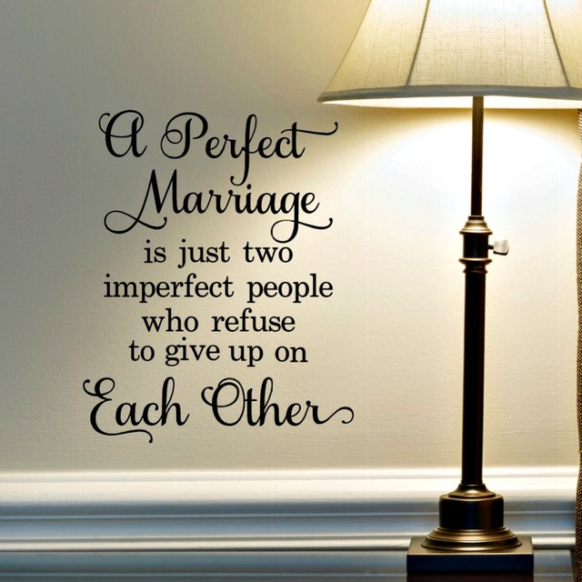 Perfect Marriage Lettering Wall Stickers Love Quotes Decals For Bedroom Wedding Ceremony Home