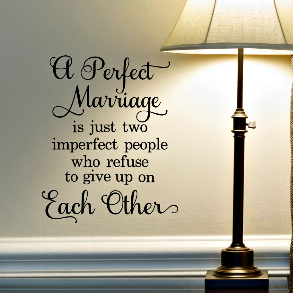 Perfect Marriage Lettering Wall Stickers Love Quotes Wall Decals For Bedroom Wedding Ceremony Wall Decals Home Decors 632Q