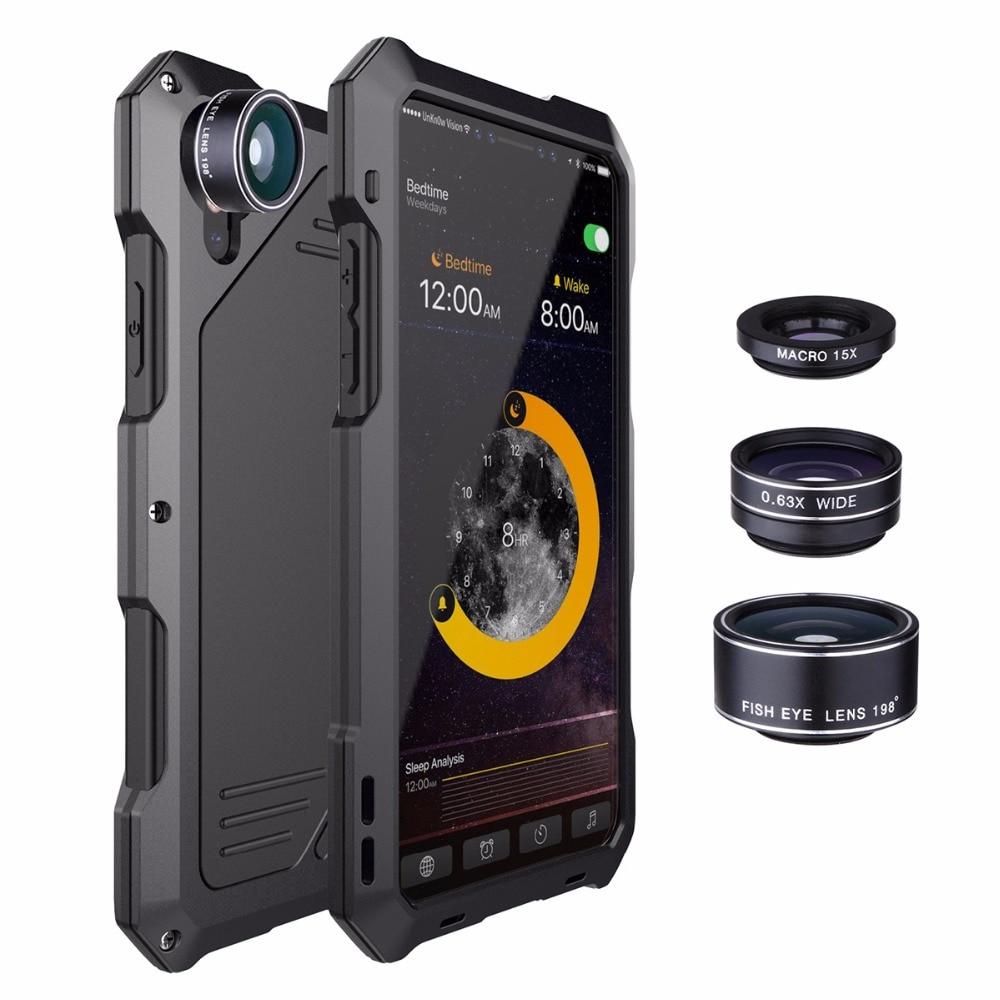 3 in 1 Obiettivo di Macchina Fotografica Della Cassa Del Metallo Per iPhoneX XR XS XS MAX Fisheye Ampio Angolo di Obiettivo Macro Del Telefono 3 difesa di Caso Per il iphone 8 7 6 s Plus