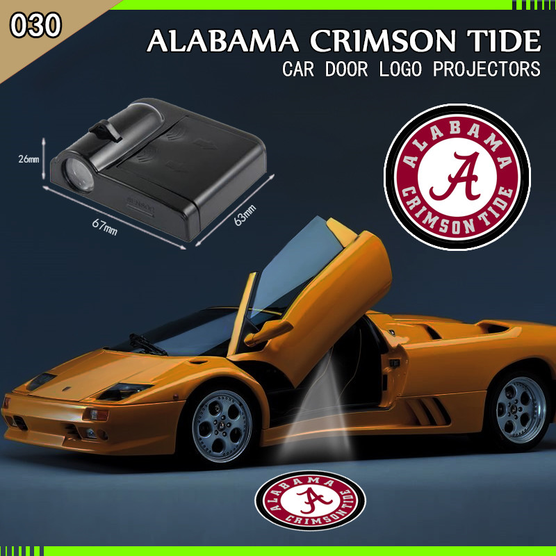 2 Pcs Alabama Crimson Tide Wireless Led font b Car b font Door Projector Welcome Ghost