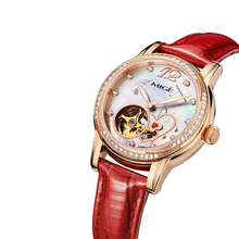 LUXURY BRAND RED LEATHER LADIES EISURE FASHION ROSEGOLDEN ROUND DIAMOND RING WATERPROOF CASE SKELETON AUTOMATIC WOMAN WATCHES