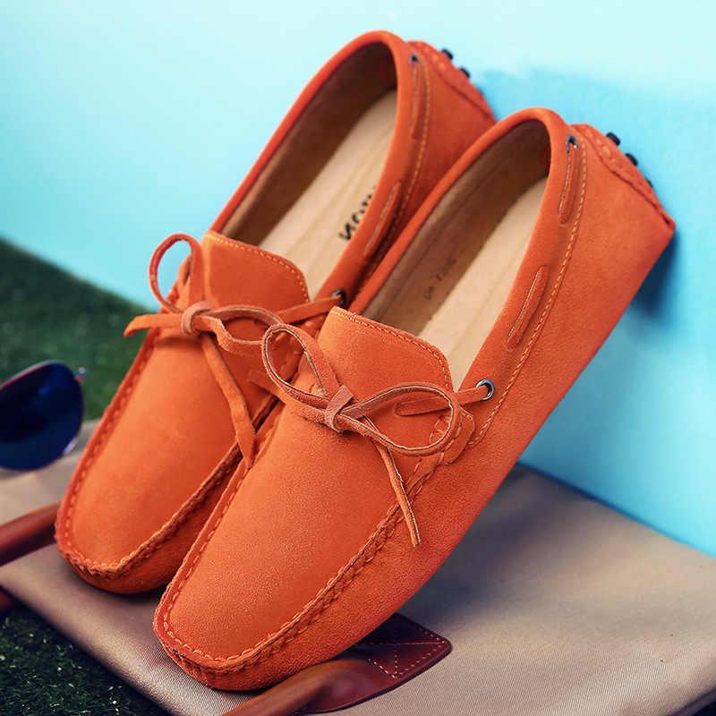 Большой размер коровья замша кожа мужские туфли на плоской подошве 2018 Новая мужская повседневная обувь Высокое качество мужские лоферы Мокасины обувь для вождения