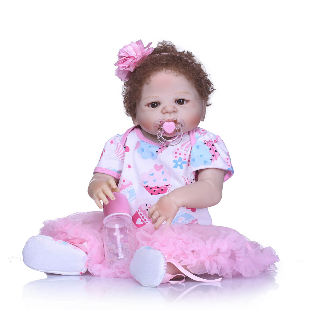 Nicery 22inch 55cm Bebe Reborn Doll Hard Silicone Boy Girl Toy Reborn Baby Doll Gift for Children Pink Skirt Baby Doll nicery 18inch 45cm reborn baby doll magnetic mouth soft silicone lifelike girl toy gift for children christmas pink hat close