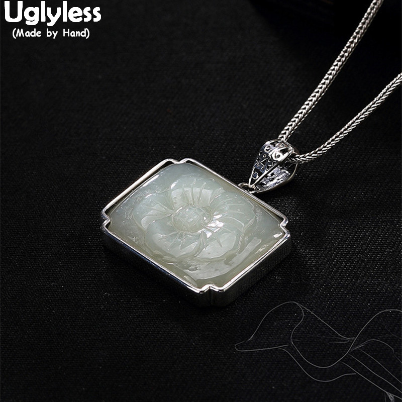 Uglyless Real 925 Sterling Silver Women Vintage Square Necklaces without Chains Handmade Engraved Jade Flower Pendants Jewelry vintage alloy engraved beads anklet for women
