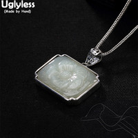 Uglyless Real 925 Sterling Silver Women Vintage Square Necklaces without Chains Handmade Engraved Jade Flower Pendants Jewelry