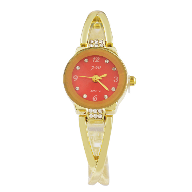 Doreen Box Stainless Steel Quartz Wrist Watches Gold Color Red Blue Dial Plate Battery Included 19cm(7 4/8) long 1 Piece