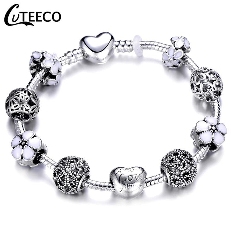 CUTEECO 925, модный серебряный браслет с шармами, браслет для женщин, Хрустальный цветок, сказочный шарик, подходит для брендовых браслетов, ювелирные изделия, браслеты - Окраска металла: AE0283