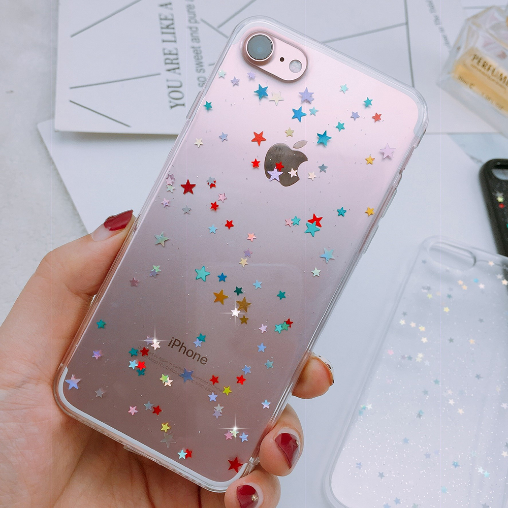 Cute Sticker Transparent phone case for iphone 7 8 6 6s PLUS star soft silicone bling cover on iphone X XR XS MAX girly case
