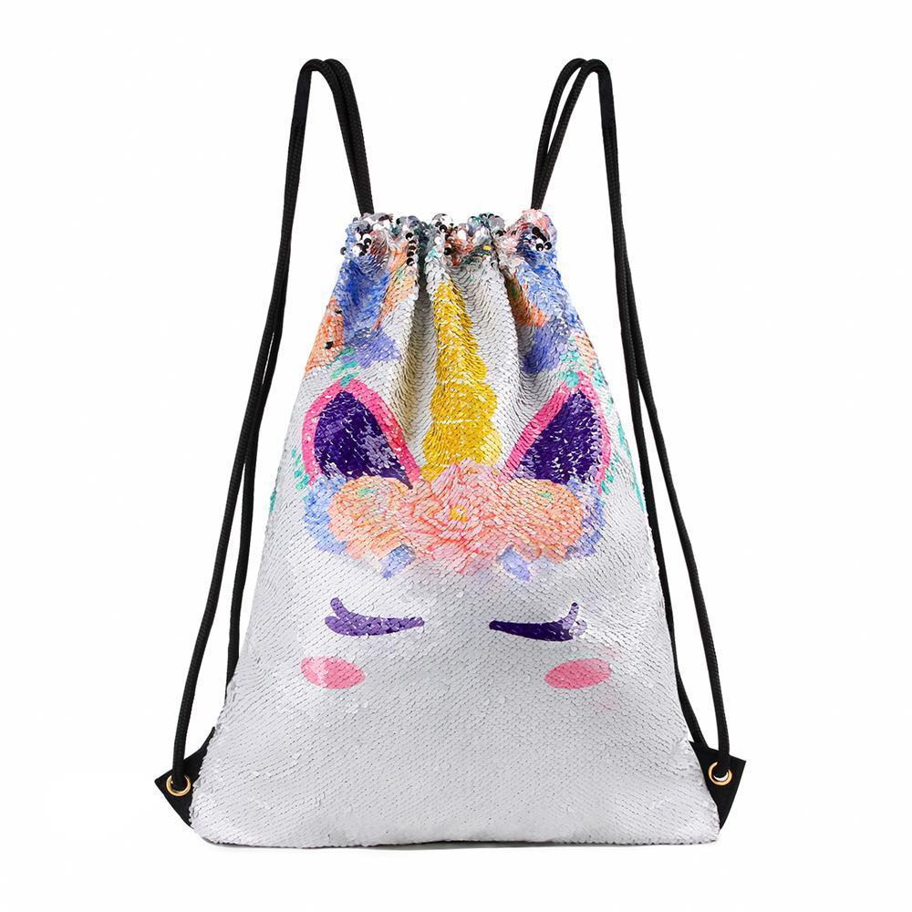 Unicorn Sequins Drawstring Backpack Travel Reversible Glitter Mermaid Scales Bag For Women Sequin Drawstring Bag