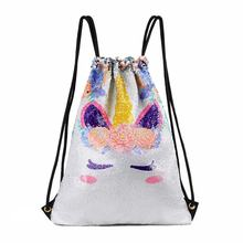 Unicorn Sequins Drawstring Backpack Travel Reversible Glitter Mermaid Scales Bag for Women Sequin drawstring bag