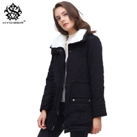 Hydiber 2018 New Winter Coat Women Slim Plus Size Outwear Medium Long Wadded Jacket Thick Hooded