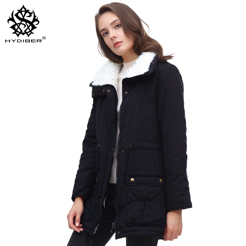 hydiber 2017 New Winter Coat Women Slim Plus Size Outwear Medium-Long Wadded Jacket Thick Hooded Cotton Fleece Warm Cotton Parka msfilia new winter coat warm slim women jackets cotton padded medium long thick hooded parkas casual wadded fleece outwear