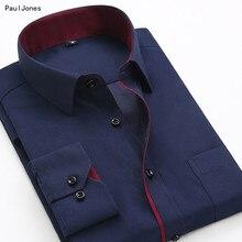 PaulJones, новинка, длинный рукав, пэчворк, мужские рубашки, 4XL, приталенная, Мужская блузка, бизнес стиль, мужская дешевая одежда, Китай, высшее качество