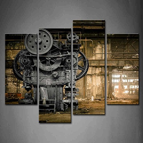 4 panel Wall Art Abandoned Factory Industrial Background