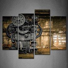 4 panel Wall Art Abandoned Factory Industrial Background Machine Messy Painting The Picture Print On Canvas Architecture Picture