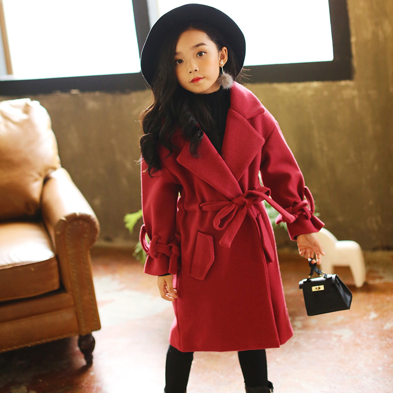 2017 New Teenage Girls Coats For Kids Outerwear Girls Wool & Blends Infant Jackets Girls Warm Clothes Children Clothing 12 13 14